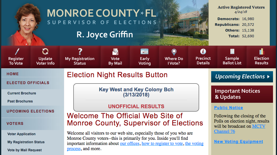 Screenshot of the Monroe County Supervisor of Elections website.