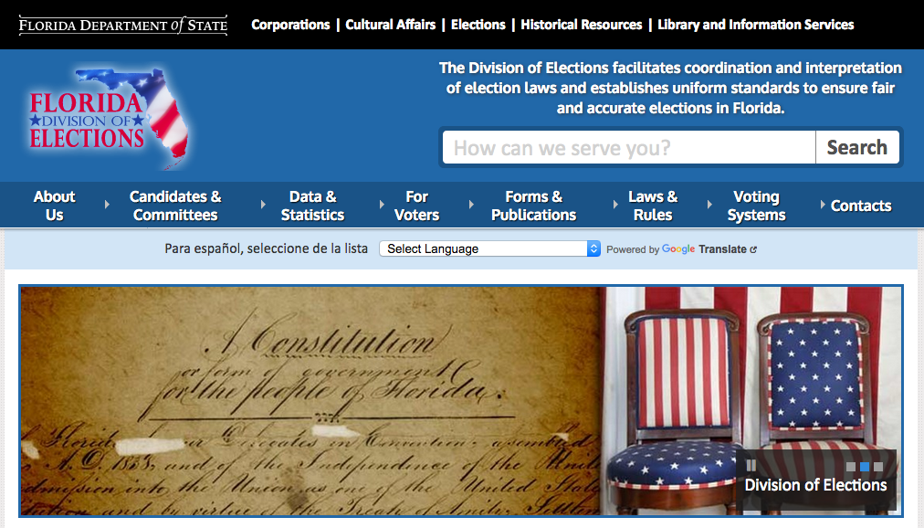 Screenshot of the Florida Division of Elections website.