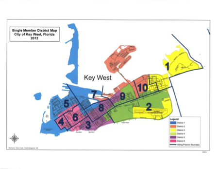 Screenshot of the Single Member District Map for the City of Key West.
